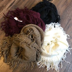 Accessories - Soft  knit fringe infinity scarf